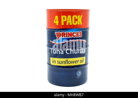 Largs, SCotland, UK - April 25, 2018:                                       Four pack Tin of Tuna Chunks with the tin containers being recyclable in a - Stock Photo