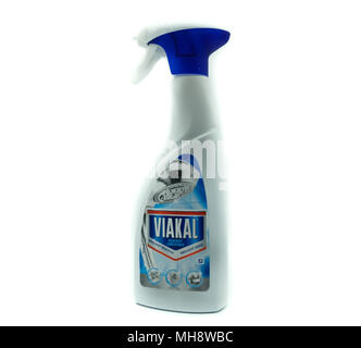 Largs, SCotland, UK - April 25, 2018:                                       A Spray Bottle of Viakal Shower Cleaner in Recyclable Plastic Container in - Stock Photo