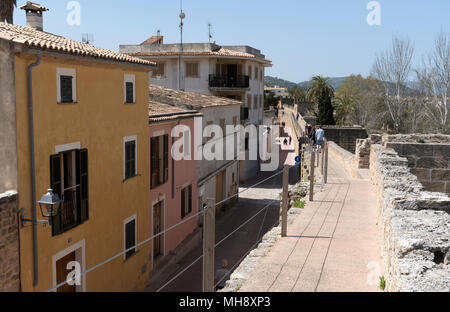 Alcudia, Mallorca, Balearic Island, Spain. 2018. The medieval walls and Cami de Ronda walkway around the old town quarter of Alcudia. - Stock Photo