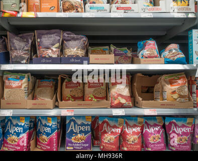 Bags of cereal on display at a supermarket - Stock Photo