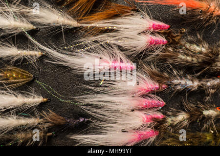 Flytying handmade fishing lure saltwater fish bait - Stock Photo