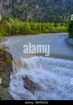 Lech Falls, Lech River, Füssen, Ostallgäu, Allgäu, Allgau, Schwabia, Bavaria, Germany, Europe - Stock Photo