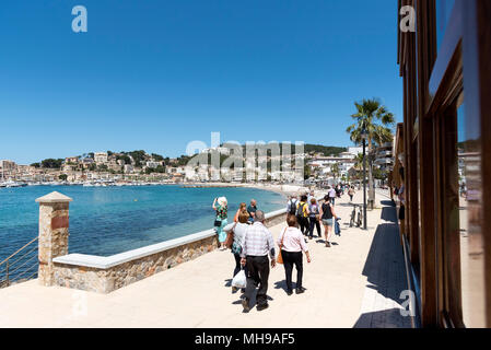 Port de Soller, Mallorca, Balearic Island, Spain. 2018. The seafront and harbour at Port de Soller a popular holiday resort in Mallorca. - Stock Photo