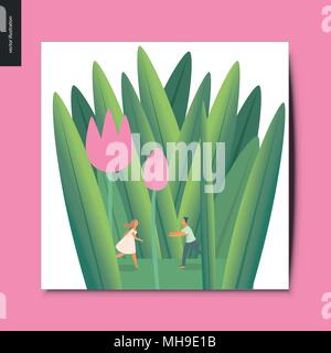 Simple things - young couple in tulips - flat cartoon vector concept illustration of a tiny man and woman running towards each other under the tulip f - Stock Photo