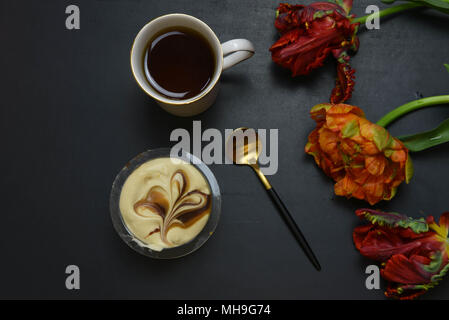 flat lay with coffee and cheese cake - Stock Photo