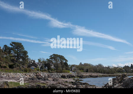 View of the village of Rockcliffe, Scotland, on a sunny spring day. - Stock Photo