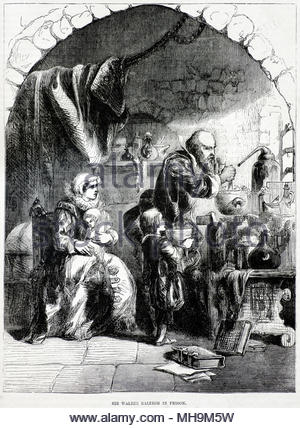Sir Walter Raleigh, 1554 – 1618 was an English landed gentleman, writer, poet, soldier, politician, courtier, spy and explorer, shown here in prison in the Tower 1603 , antique illustration from circa 1880 - Stock Photo