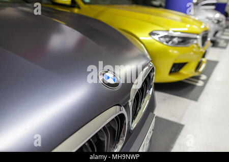 BERLIN / GERMANY - APRIL 29, 2018: BMW F90 M5 stands in a german parking lot. The F90 M5, based on the BMW 5 Series (G30) was presented on 21 August 2 - Stock Photo