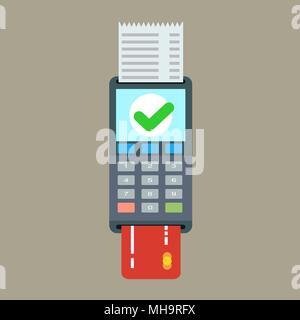 POS terminal and receipt vector icon. Credit card processing - Stock Photo