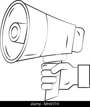 hand with megaphone sound pop art style vector illustration