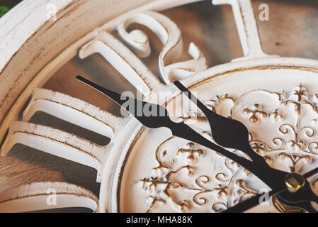 Happy New Year at midnight 2018, Old wooden clock - Stock Photo
