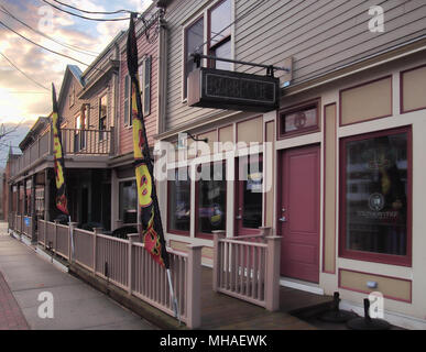 Camillus, New York, USA.  April 28, 2018. Small business along the main street through the small town of Camillus, New York, early morning - Stock Photo
