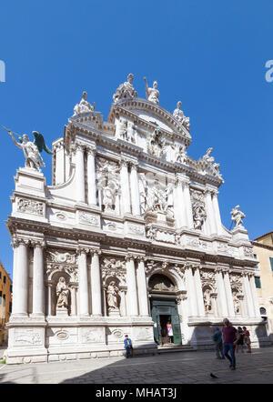 Baroque facade of Chiesa di Santa Maria del Giglio (Santa Maria Zobenigo; St Mary of the Lily), Campo Santa Maria del Giglio, San Marco, Venice, Italy - Stock Photo