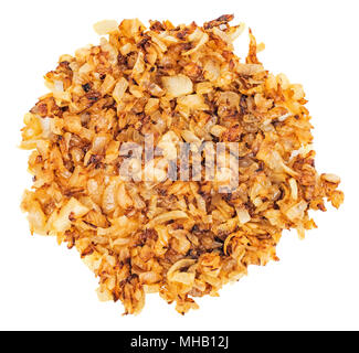 Fried gold onion or shallots for garnishing isolated on white background. Top view. - Stock Photo