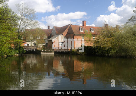 Flatford Mill, from across the River Stour, in Flatford, Suffolk, England - Stock Photo
