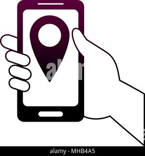 GPS tracking from smartphone on purple lines - Stock Photo