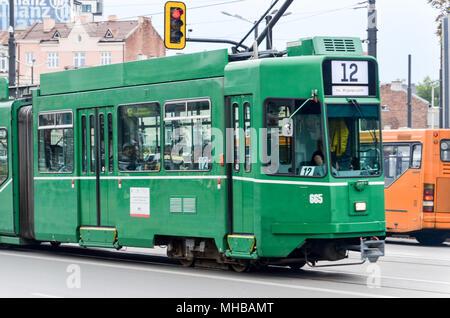 Tram and life in Sofia, Bulgaria - Stock Photo