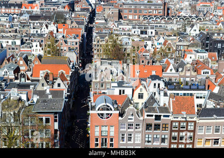 Aerial view of Amsterdam (Jordaan district), Amsterdam, Netherlands - Stock Photo