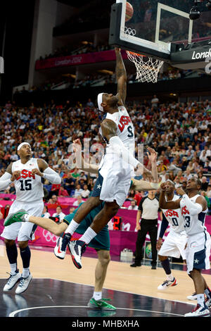 LeBron James in action during the United States quarterfinal Men's Basketball game against Australia. - Stock Photo
