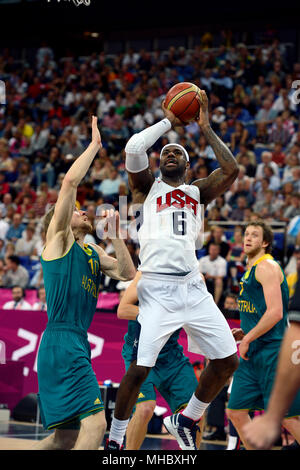 LeBron James in action during the United States quarterfinal Men's Basketball game against Australia.