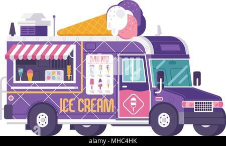 Retro ice cream truck isolated on white. Street food on wheels kiosk in flat design. Summer kitchen car vector illustration. Ice-cream van illustratio - Stock Photo