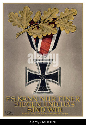 WW2 Nazi Propaganda Poster featuring a German Iron Cross medal with oak leaves motif  ' There Can Only Be One Victory And That is Us '. Speech quotation from Adolf Hitler 1939 - Stock Photo