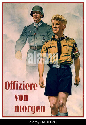 'OFFIZIERE VON MORGEN' 1940 Vintage Nazi Germany Recruitment Propaganda Poster 'Officers of Tomorrow' featuring Wehrmacht iron cross medal decorated soldier and a Hitler Youth Boy with Swastika armband - Stock Photo
