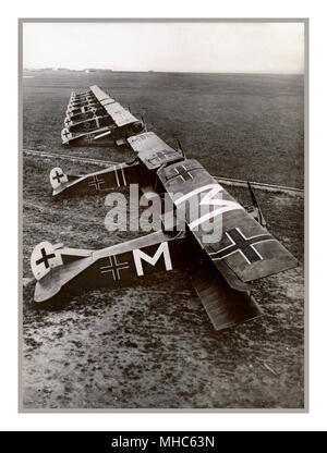 WW1 Ten German Fokker D.VII aircraft of Jasta 72 at Bergnicourt, France, in July 1918. The plane marked with an 'M' belonged to Oberleutnant Karl Menckhoff . On 23 April 1918, he was awarded Germany's highest decoration for valor, the Pour le Mérite, his victory total having reached 25.Carl Menckhoff (14 April 1883 – 11 January 1949) was a German First World War fighter ace, credited with 39 confirmed victories. He was one of the oldest pilots in the Imperial German Air Service, he transferred from infantry service to aviation as a non-commissioned officer - Stock Photo