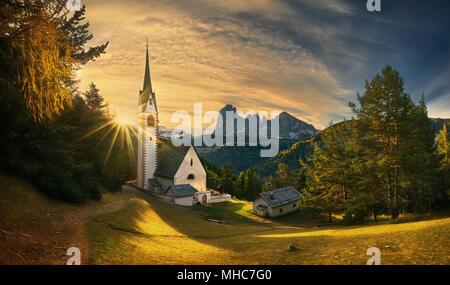 St Jacob's Church.Ortisei. Dolomites.Italy. - Stock Photo