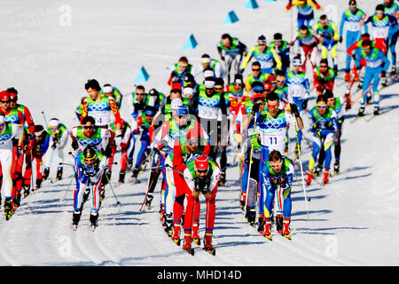 Men's 30K Pursuit, Cross Country Ski Race.  Vancouver Olympics, February 20, 2010. - Stock Photo