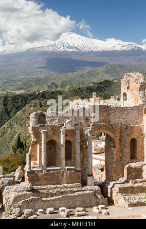 Ancient theatre of Taormina with Mt. Etna, Sicily.
