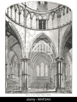 Interior of Temple Church, London, England. 19th Century illustration - Stock Photo