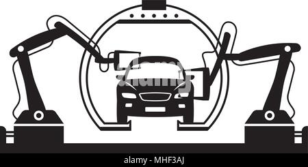 Robots weld car bodies at assembly line - vector illustration - Stock Photo