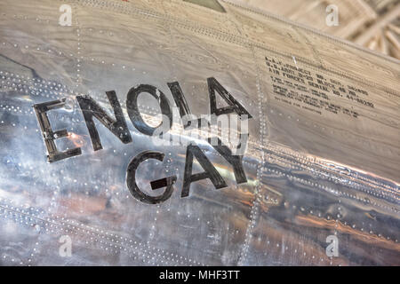 WASHINGTON DC, USA - JUNE 21 2015: Boeing B-29 Superfortress Enola Gay at air museum . On 6 August 1945 the bomb, code-named 'Little Boy', was targete - Stock Photo