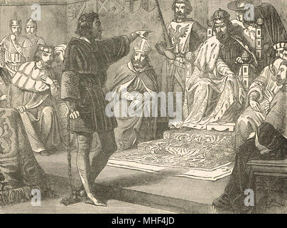 King Richard I refusing to show deference to Henry VI, Holy Roman Emperor, 1193, before the diet of the German Empire, Imperial city of  Speyer, Germany, Trial of Richard I - Stock Photo