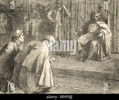 Priests pleading with King Richard I, interceding for the Bishop of Beauvais, Philip of Dreux, captured by Angevin forces. Rouen castle, Normandy, France, 1197 - Stock Photo