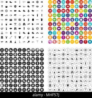 100 BBQ icons set vector in 4 variant for any web design isolated on white - Stock Photo
