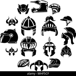 Helmet icons set. Simple illustration of 16 helmet vector icons for web - Stock Photo