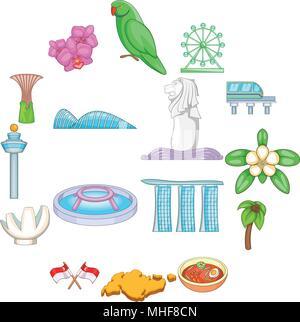 Singapore travel icons set, cartoon style - Stock Photo
