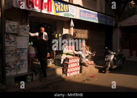 Shopping street in the crowded streets in the old city of Ahmedabad, India - Stock Photo
