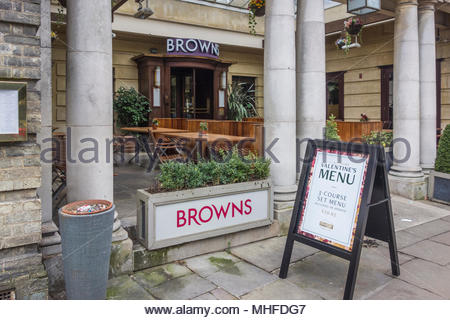 The entrance to Browns Restaurant in Trumpington Street, Cambridge, UK - Stock Photo