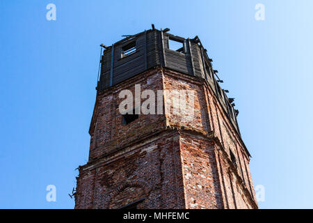 Very old brick fortress, built of red brick and wood - Stock Photo