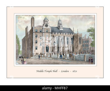Middle Temple Hall London Original Design based on a 19th century Engraving - Stock Photo
