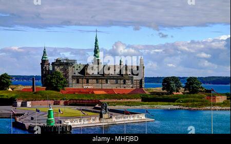 Sea panorama of Kronborg castle in Helsingor, Denmark - Stock Photo