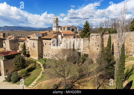 Panoramic aerial view of Girona and cathedral, Catalonia, Spain - Stock Photo