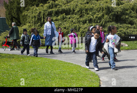 Young urban children learn about nature, some for the first time at the Brooklyn Botanic Garden in New York City.