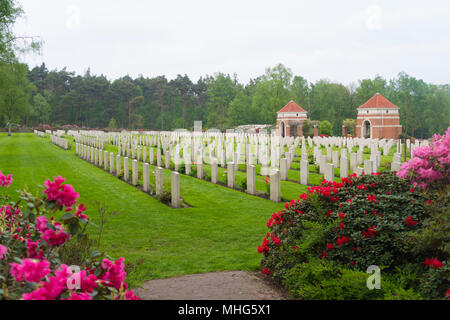 HOLTEN, NETHERLANDS - APRIL 29, 2018: Well maintained graves of fallen canadian soldiers during WW2 on the canadian war cemetary - Stock Photo