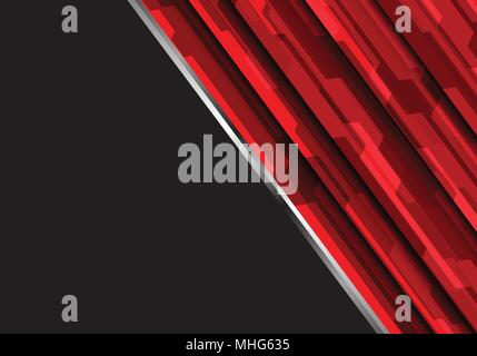 Abstract red polygon futuristic on dark gray design modern technology vector background illustration. - Stock Photo
