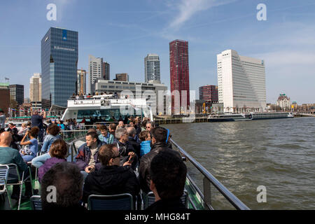 Harbor cruise from Spido, on the Nieuwe Maas and the port of Rotterdam, Netherlands, city skyline, - Stock Photo