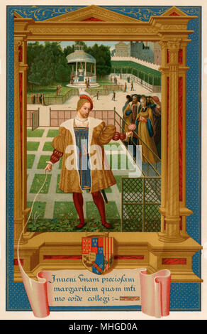Henri IV (de Navarre) meeting Marguerite de Valois in the gardens of Alencon, France. Color lithograph of a 16th century miniature - Stock Photo